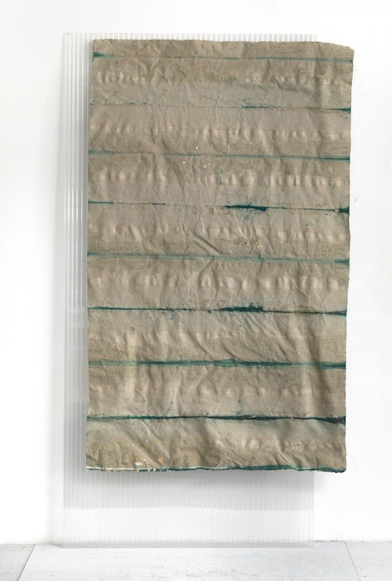 Untitled, 2011, Pigment, glue on canvas, polycarbonate, 200 x 115 cm