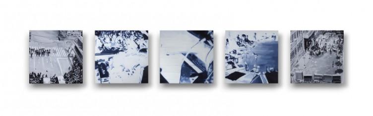 A Las Barricadas, 2013, Oil and acrylic on 5 panels, 20 x 20 cm each panel