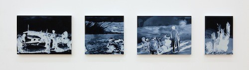 Untitled (Hellbird), 2014, Οil and acrylic on 4 panels