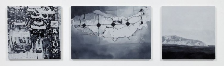 Alternate Geographies 1, 2011, Oil and acrylic on 3 panels, 2 panels 21 x 21 cm, 1 panel 21 x 31 cm