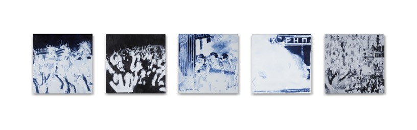 We are not (just) an Image on T.V., 2013, Oil and acrylic on 5 panels, 20 x 20 cm each panel