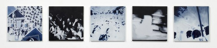 One Paid for Song, 2011, Oil and acrylic on 5 panels, 21 x 21 cm each panel