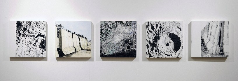 Mapping the Moon, 2009, oil and acrylic on panel, 5 parts, 20 x 20 cm each panel