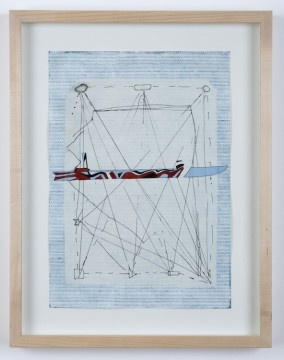 Razzle Dazzle K., 2019, Etching, lithograph, Chine-collé  and guache on paper, 34 x 24 cm