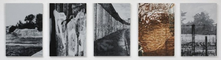 5 Walls from the 80's, 2008, oil and acrylic on panel, 5 parts, 31 x 21 cm each panel