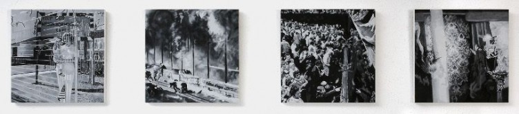 Fences, Neighbors, Wars, Decadence, 2007, oil and acrylic on panel, 4 parts, 20 x 20 cm each panel