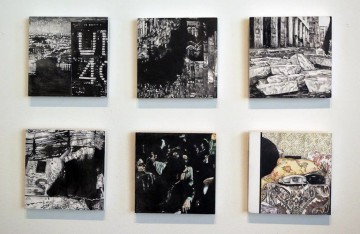 Cold War Episodes 2, 2009, oil and acrylic on panel, 6 parts, 13 x 13 cm each panel