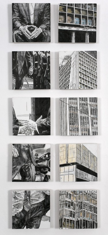 Some opinions about Modernism, 2006, pencil on panel, 10 parts, 13 x 13 cm each panel