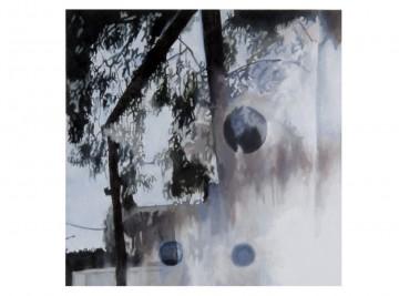 26 km (4), 2010, Oil and acrylic on panel, 20 x 20 cm each