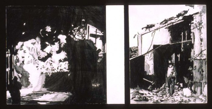 Elbin (from the series Disaster Postcards), 2006, acrylic and pencil on panel, 2 parts, 13 x 13 cm each panel