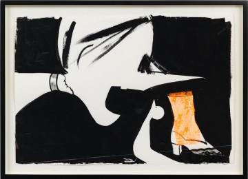 Untitled, 2018, Description: Gouache, graphite and lace on paper, 46 x 63 cm