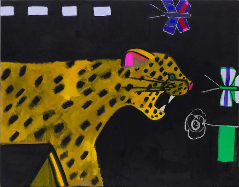 Mr Leopardeo, 2018, Oil and paint stick on linen, 91.44 x 116.84 cm