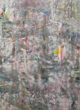 Untitled (Tiberias), 2014, Acrylic, enamel, alcohol, and salt on oil primed linen, 195.6 x 144.8 cm, 77 x 57 in
