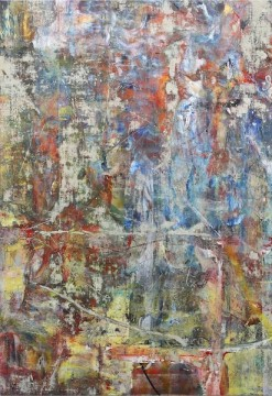 Untitled (Shahbazpur), 2015, Acrylic, enamel, alcohol, and salt on oil primed linen, 195.6 x 134.6 cm (77 x 53 in)