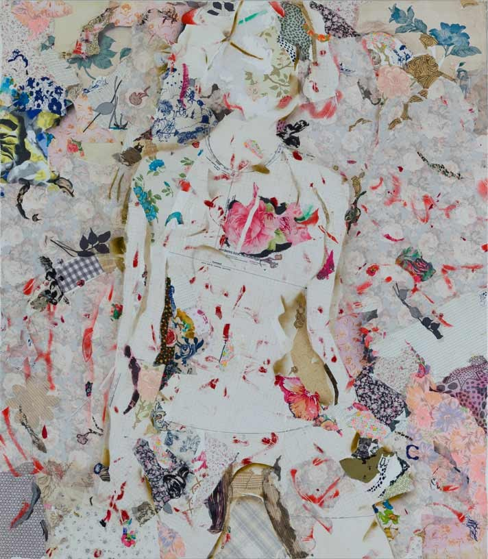 Let things come to you, 2010, acrylic, paper and textile on canvas, 160 x 140 cm
