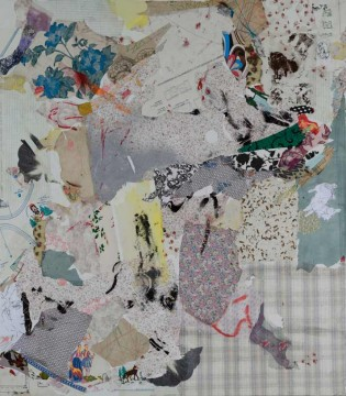 Memory patches, 2009, acrylic, paper and textile on canvas, 160 x 140 cm