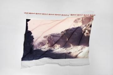 Mount M, 2019, Digital print on textile, textile hardener, custom made mounting tape, 140x180cm