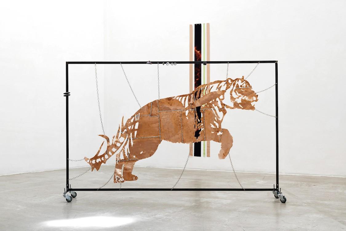 Sky Chunks: Sun I, 2019 & Spirit Animal I, 2019, Description: Digital Print on Textile, 180x50cm & Copper, solder, steel, stainless steel, abalone, agate, plastic, 120x180 x40cm