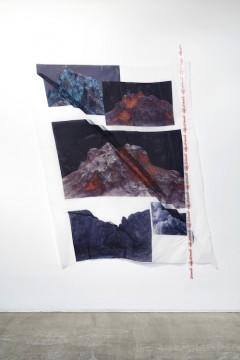 Mount K, T and J, 2019, Digital print on textile, textile hardener, custom made mounting tape, 180x140 cm
