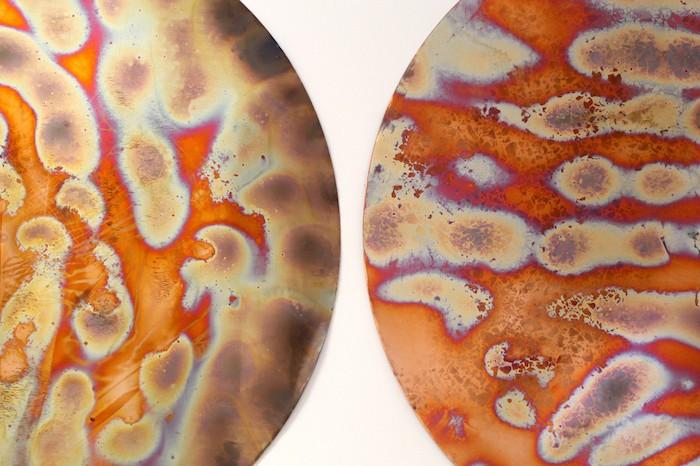 Planet II & III (detail), 2016, Copper, 100 x 100 cm