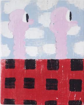 Rosa Freunden, 2018, Acrylic on wood, 38.5 x 49 cm
