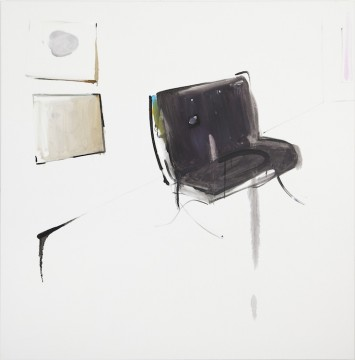 Smiley painting and sad chair, 2015, Oil on canvas, 150 x 150 cm