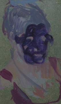Study on a woman's head, 2013, oil and marker on board, 16,6 x 10 cm