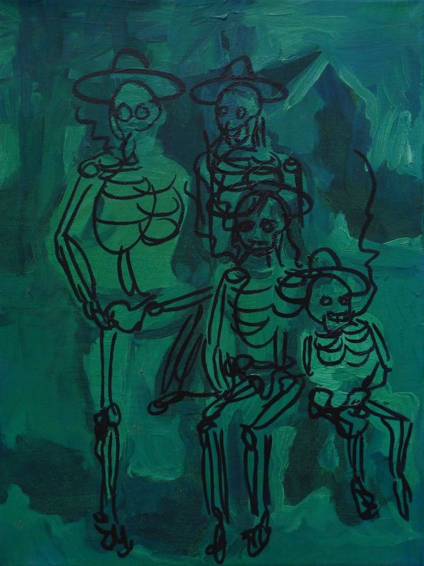 Rachtwurst 10 (The Smokers), 2009, oil and marker pen on canvas, 40,5 x 30,5 cm