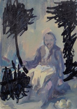 Laughing Man No.2, 2012, oil and marken on board, 14 x 10 cm