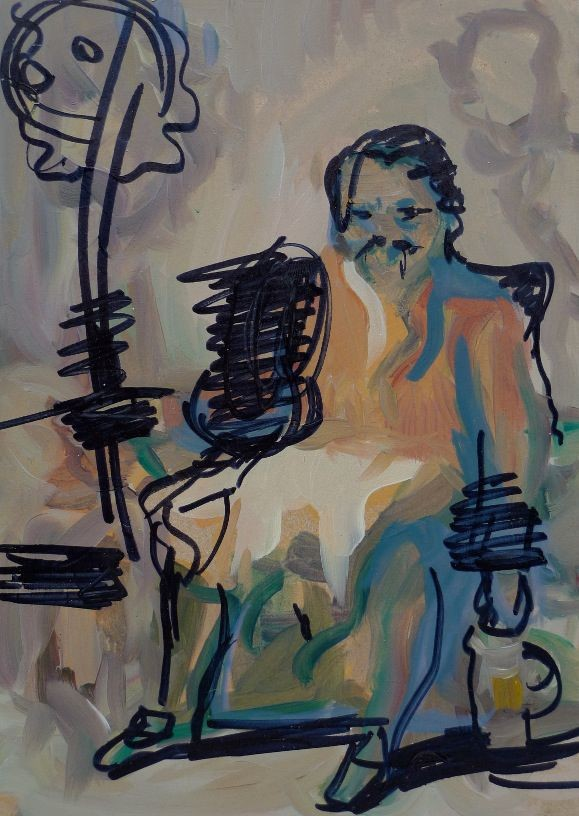 Laughing Man No.1, 2012, oil and marker on board, 24,1 x 17,1 cm