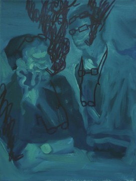 Rachtwurst 11 (Father and Son), 2009, oil and marker pen on canvas, 40,5 x 30,5 cm
