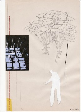 Out of the square, 2007, collage on paper, 29 x 19 cm