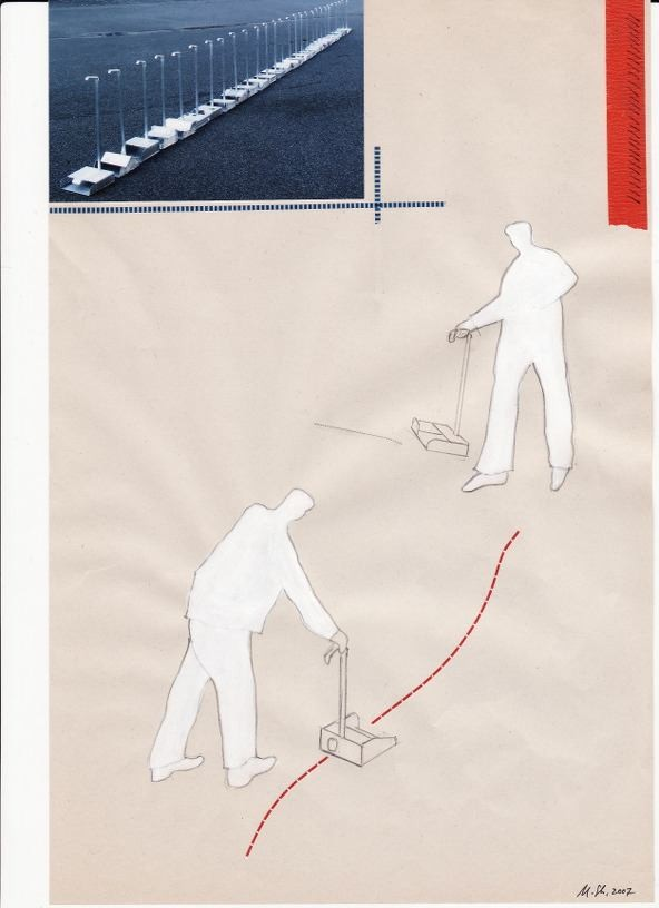 Out of the line, 2007, collage on paper, 29 x 19 cm