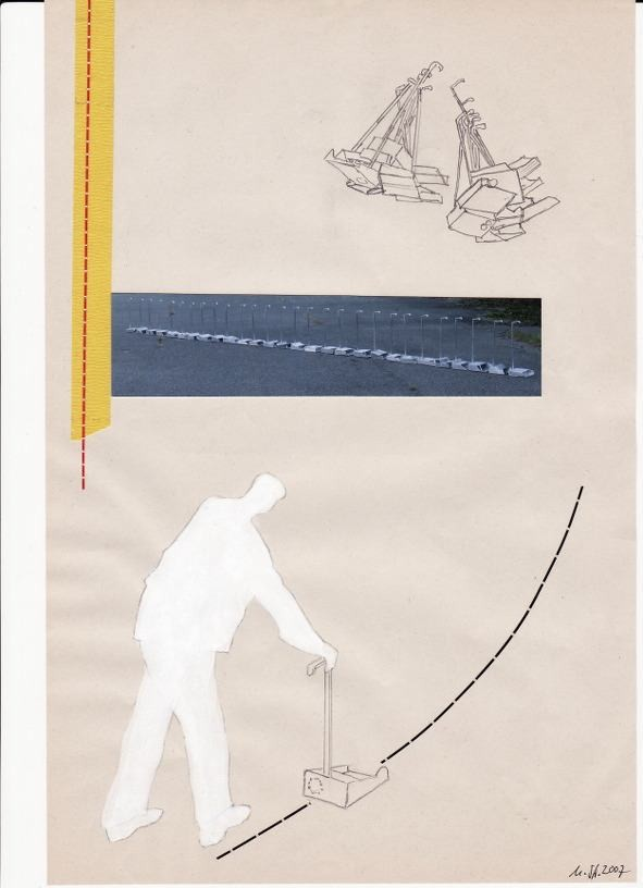 Walking the line, 2007, collage on paper, 29 x 19 cm