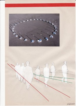 Out of the circle, 2007, collage on paper, 29 x 19 cm