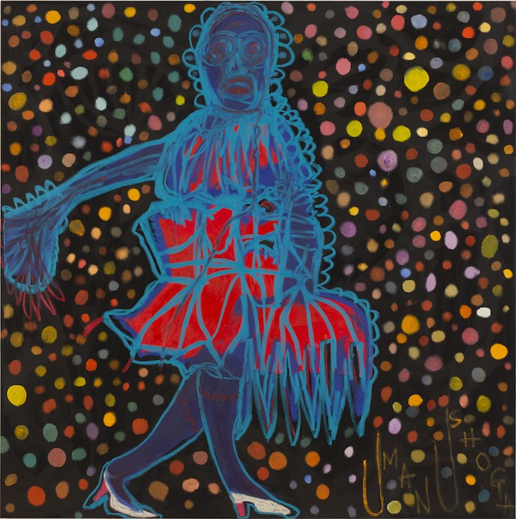 Lady with Blue Hair and Red Dress, 2019-21, Acrylic and oil on canvas, 183 x 183 cm (72 x 72 in)