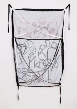 Lost timeline - Schinkenteller, 2013, Print on fabric, pins, 132 x 94 cm
