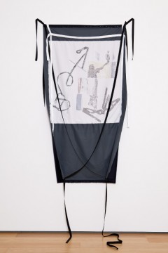 Lost timeline - bronze figures, 2013, Print on fabric, pins, 153 x 84 cm