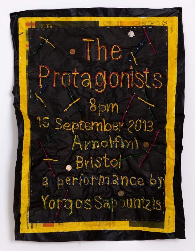 The Protagonists, 2013, Newspaper, coins, pins and plastic, 80 x 60 cm