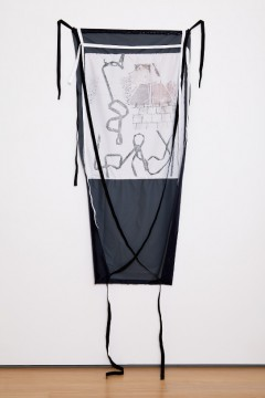 Lost timeline - die welt in Teilen, 2013, Print on fabric, pins, 156 x 72 cm