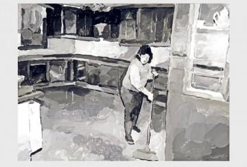 Part-time Cleaner, 2009, oil on aluminum, 30 x 41 cm