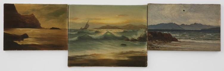Eftihis Patsourakis Horizon #8, 2011 Found oil paintings on canvas of amateur painters, 3 canvases 136.5 x 41 cm (total dimension)