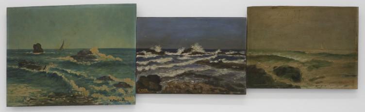 Eftihis Patsourakis Horizon #9, 2011 Found oil paintings on canvas of amateur painters, 3 canvases 106 x 30 cm (total dimension)