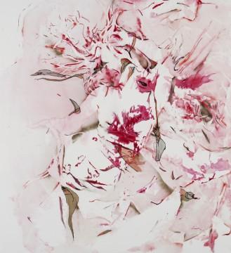 Lila Polenaki thysia, 2005 acrylic, paper, textile on canvas 210 x 190 cm