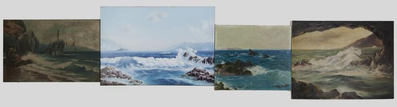 Eftihis Patsourakis Horizon #4, 2011 Found oil paintings on canvas of amateur painters, 4 canvases 305 x 72 cm (total dimension)