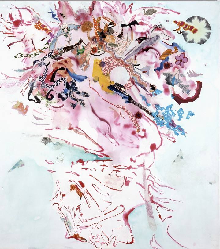 Lila Polenaki merrywho, 2003 acrylic, paper, textile on canvas 210 x 190 cm