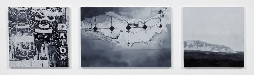 Eirene Efstathiou Alternate Geographies 1, 2011 Oil and acrylic on 3 panels 2 panels: 20 x 20 cm, 1 panel: 20 x 30 cm