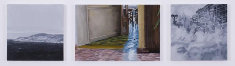 Eirene Efstathiou Alternate Geographies 2, 2011 Oil and acrylic on 3 panels 2 panels: 20 x 20 cm, 1 panel: 20 x 30 cm