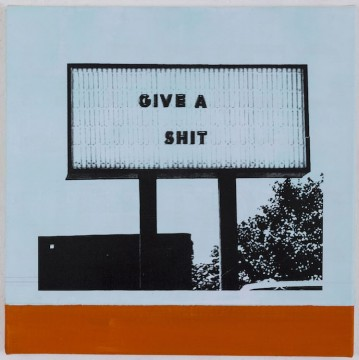 Helmut Middendorf, Give a shit, 2020, Acrylic and collage on canvas, 35 x 35 cm