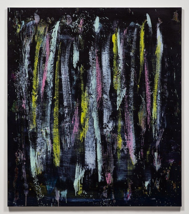 Jon Pestoni, With Teeth, 2014, Oil and mixed media on canvas, 78 x 68 x 1,5 inches (198,1 x 172,7 x 3,8 cm)